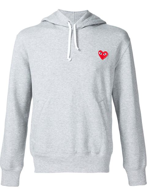 COMME DES GARÇONS PLAY Comme Des Garcons Play Red Emblem Cotton Hoodie In Gray in Grey