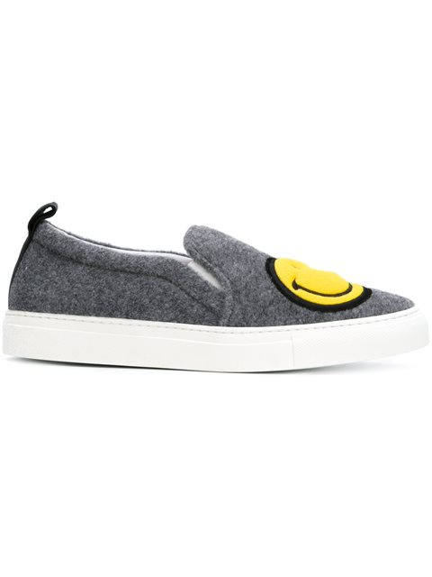 Felted Wool Slip-On Sneakers, Grey