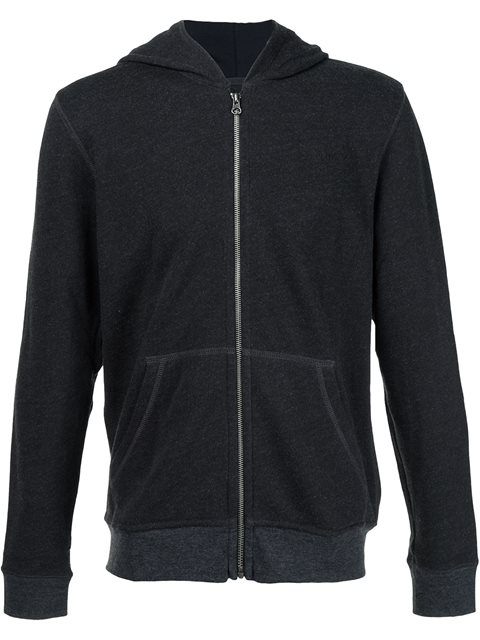 ATM ANTHONY THOMAS MELILLO French Terry Zip-Front Hoodie - Charcoal Size L in Grey