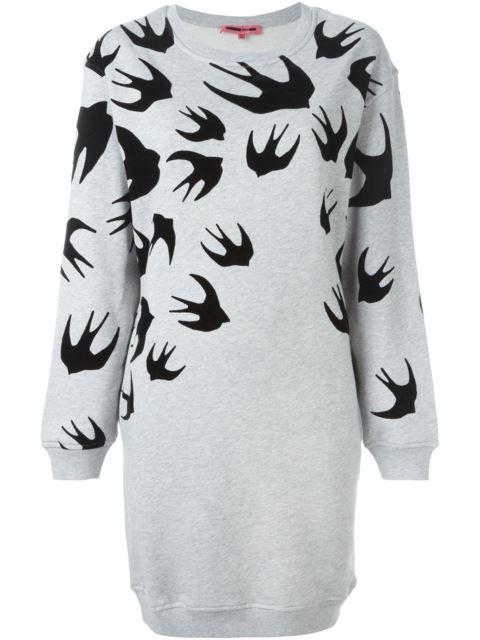 Mcq Alexander Mcqueen Grey Swallow Signature Sweatshirt Dress