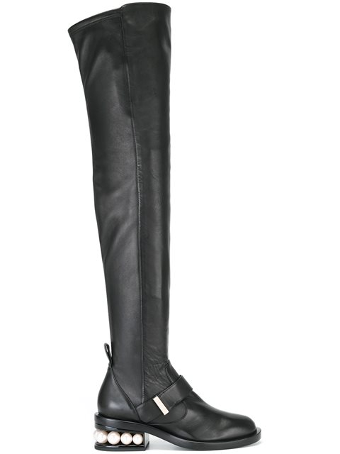 Casati Embellished Leather Over-The-Knee Boots in Black