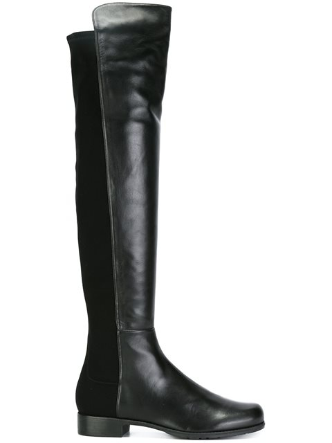 20Mm 5050 Leather & Elastic Boots in Black