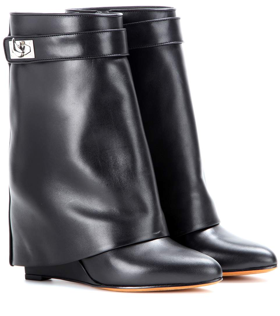 Shark Lock Leather Pants Mid-Calf Wedge Boots in Black