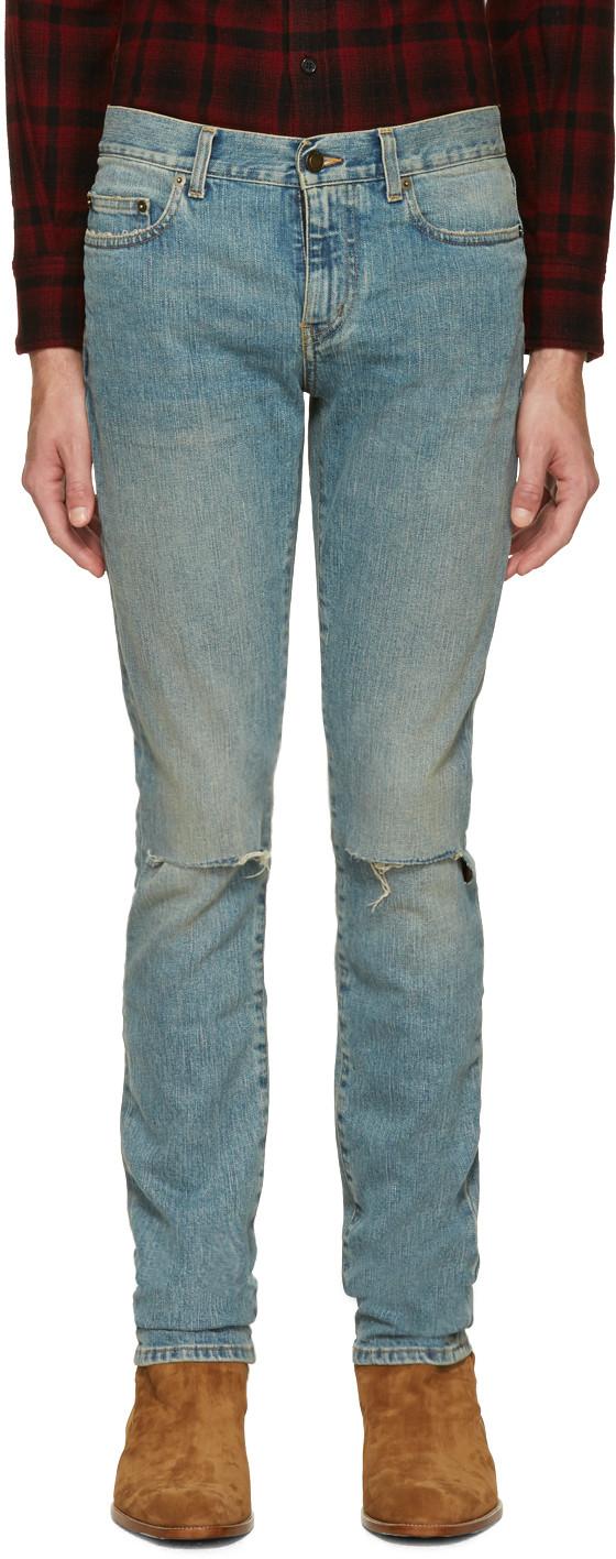 Maigre Ajustement Des Jeans En Denim Vieilli Saint Laurent i1UtIdG0A