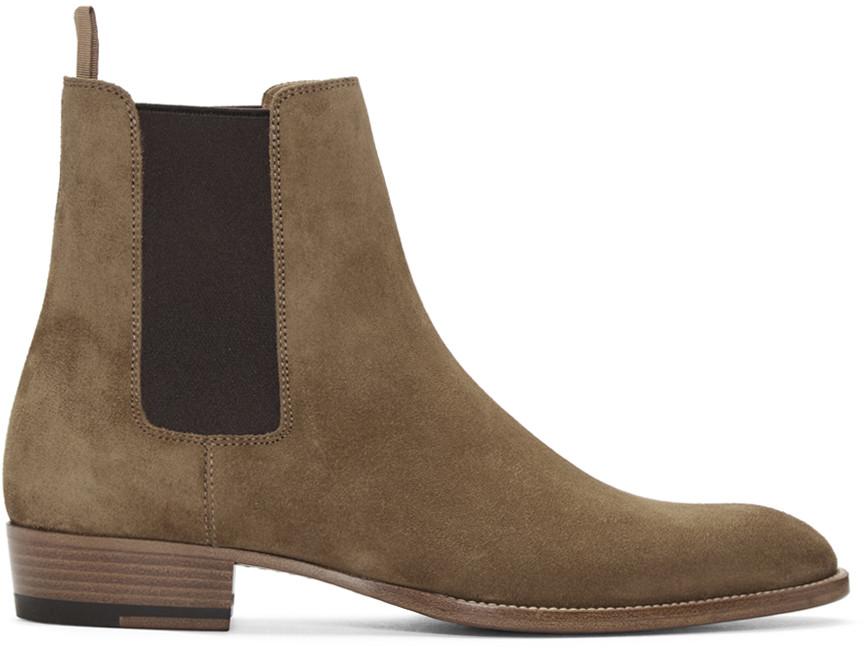Saint Laurent Tan Suede Stack Boots 8vsIlaq