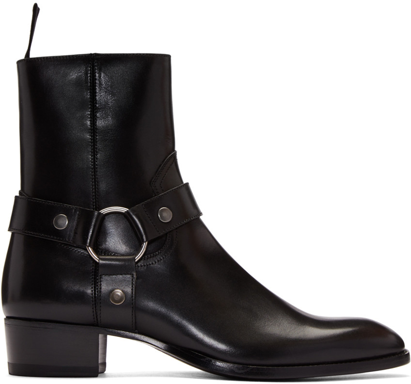 Wyatt 40 Harness Boot In Black Leather