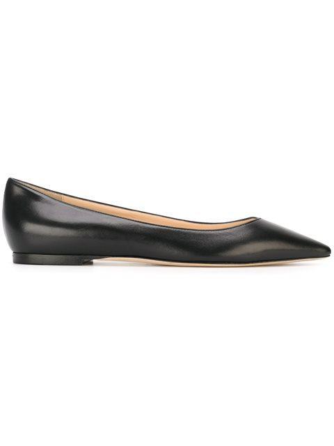 Women'S Romy Leather Pointed Toe Ballet Flats, Black