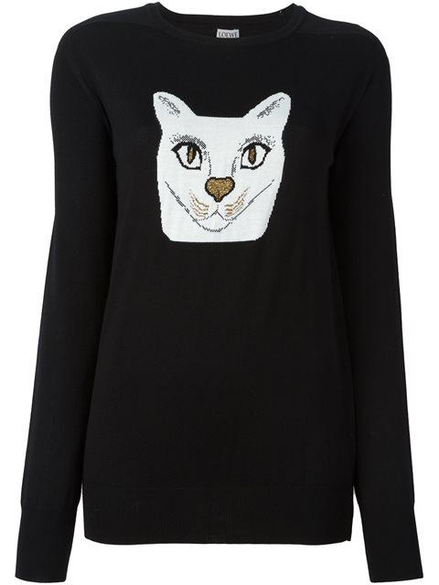 Cat Wool Blend Jacquard Sweater, Black