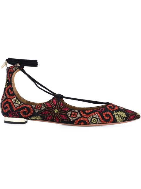 Woman Christy Embroidered Suede Point-Toe Flats Black