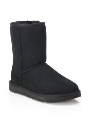 Women'S Classic Short Waterproof Suede & Sheepskin Booties, Black