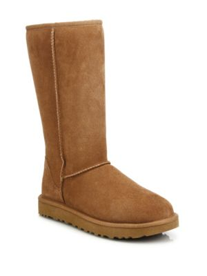 'Classic Ii' Genuine Shearling Lined Tall Boot (Women), Chestnut Suede