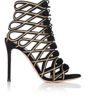 Passemeterie Metallic-Embroidered Suede Cage Sandals, Black