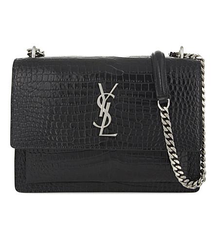 Saint Laurent Black Croc Sunset Monogram Leather Shoulder Bag Free Shipping Low Price Free Shipping Exclusive jWjayRs2WV