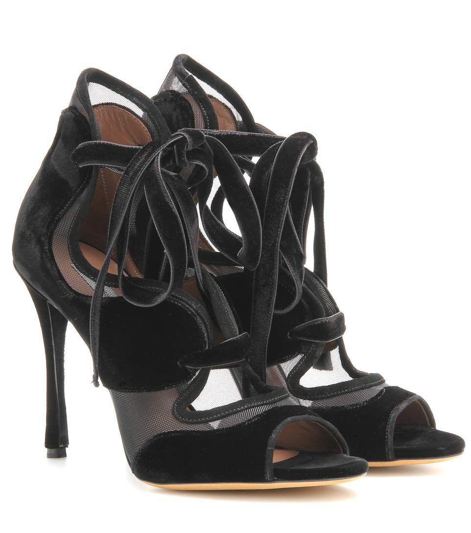TABITHA SIMMONS Freya High Velvet And Mesh Sandals in Black