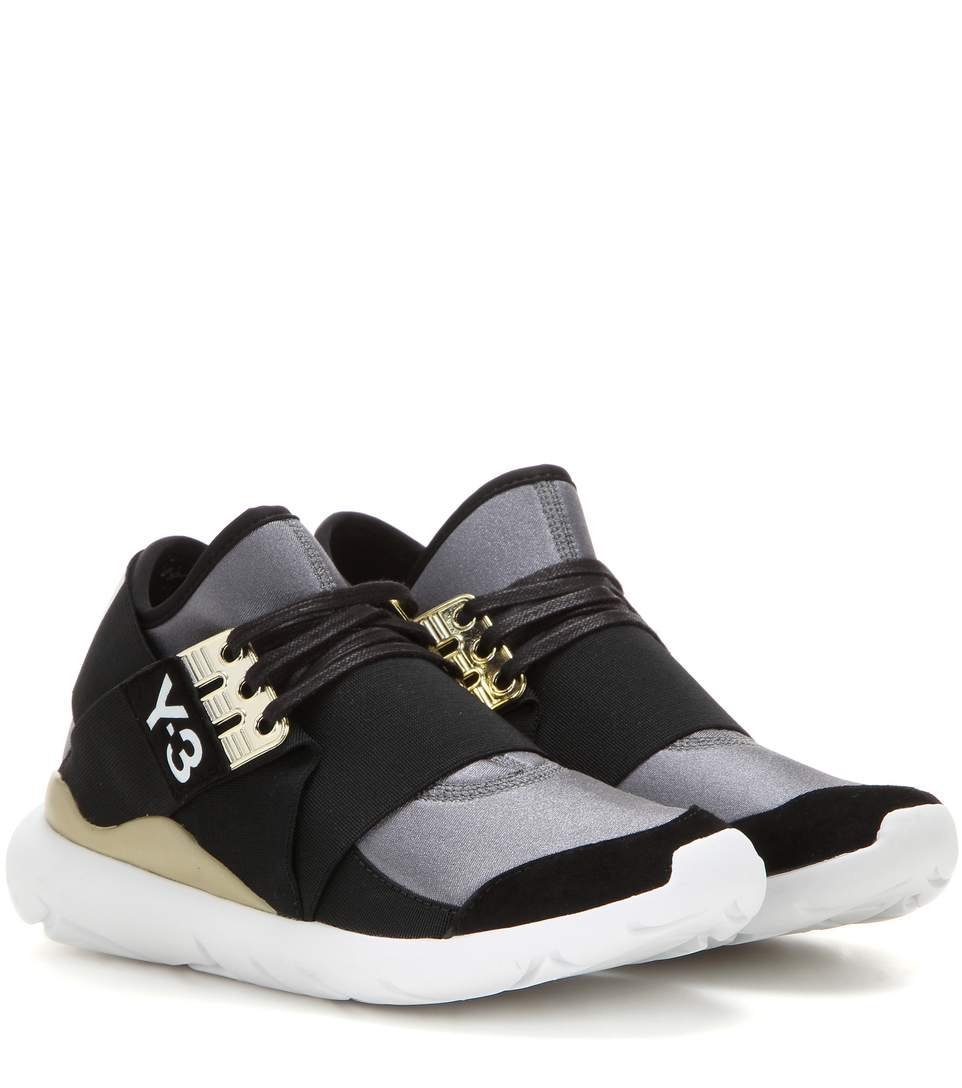 Qasa Elle Lace Neoprene Sneakers in Eight Metallic
