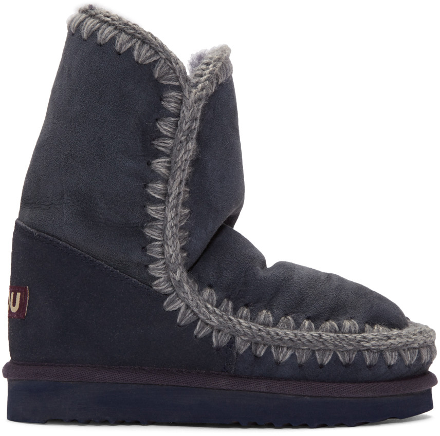 Navy Eskimo 24 Boots, Blue