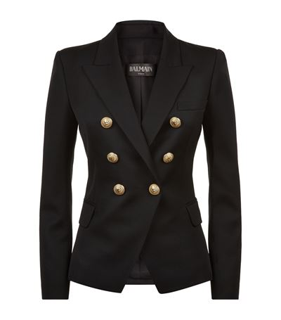 Virgin Wool Blazer With Embossed Buttons, Black
