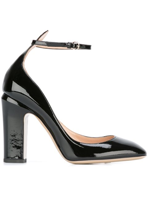 Patent Leather Tan-Go Pumps, Black