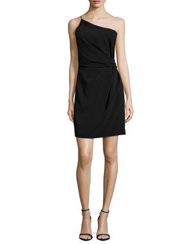 HALSTON HERITAGE One-Shoulder Cocktail Dress, Black