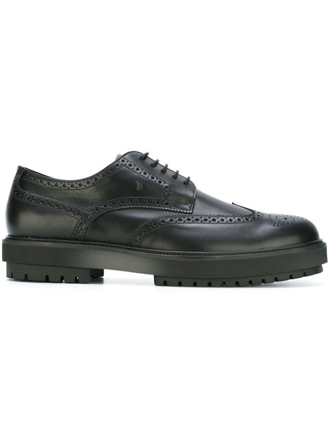 TOD'S Men'S Classic Leather Lace Up Laced Formal Shoes Derby Bucature Extra Light, Black