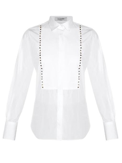 Rockstud Untitled #5 Bib-Front Shirt in White