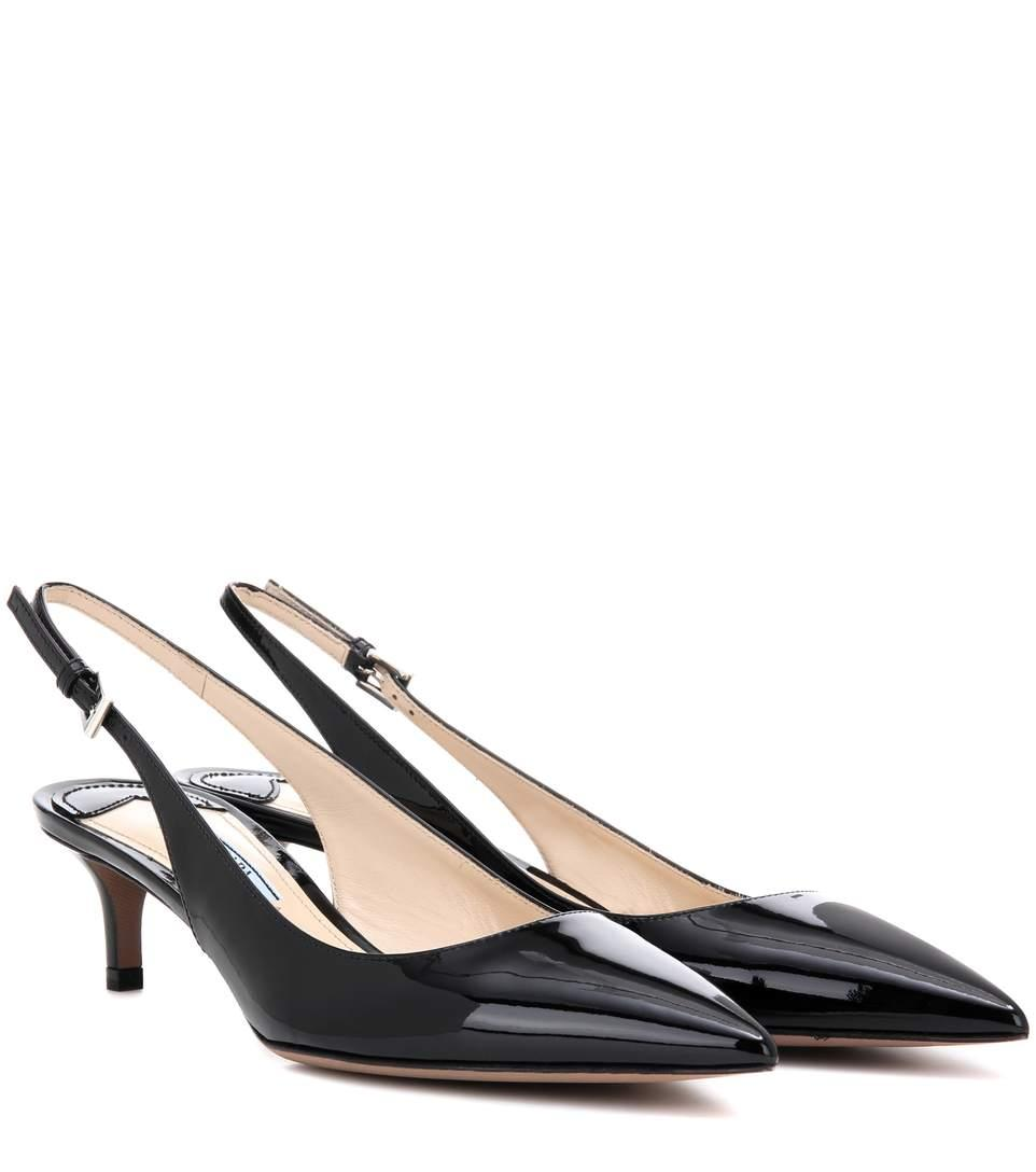 Point-Toe Patent-Leather Slingback Pumps, Eero