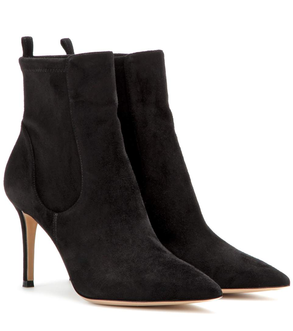 GIANVITO ROSSI 85Mm Ribbed Knit & Suede Ankle Boots, Llack