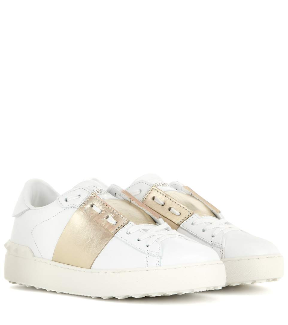 Open Leather Sneakers With Metallic Band, White