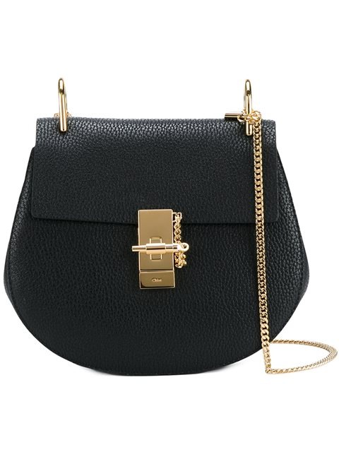 Drew Small Textured-Leather Shoulder Bag in Black