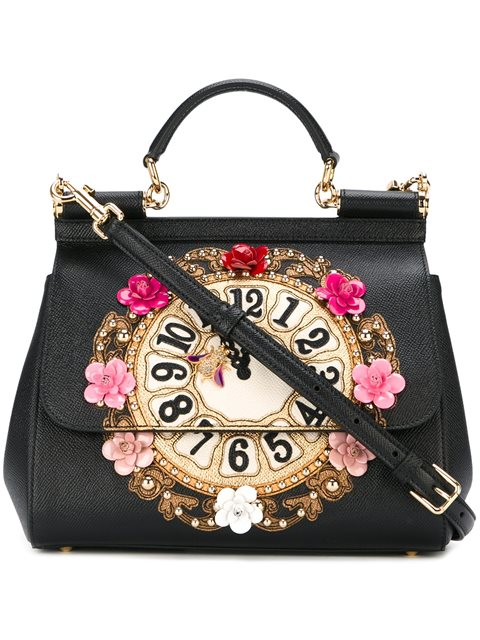 Dolce   Gabbana Miss Sicily Medium Leather Clock Satchel Bag, Black In  Black Multi 4a35d09b16