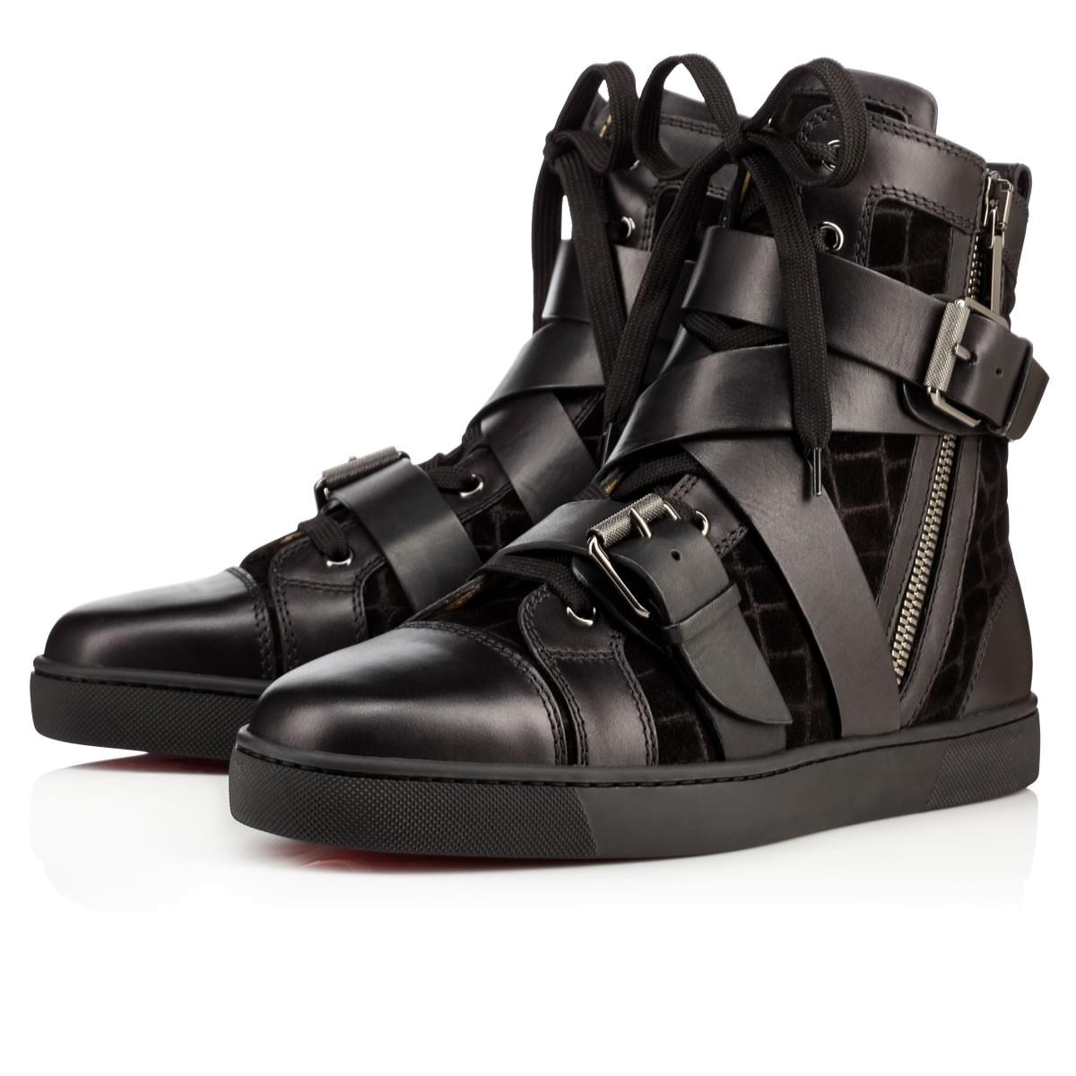 CHRISTIAN LOUBOUTIN Snap Shoot Calf/Crosta Dundee  Black Veau Velours - Men Shoes -