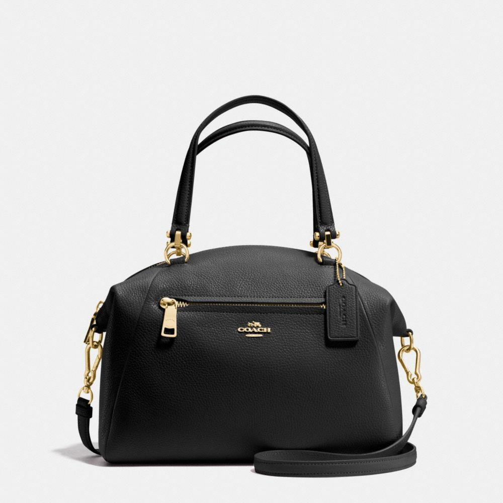 Prairie Satchel In Polished Pebble Leather in : Light Gold/Black