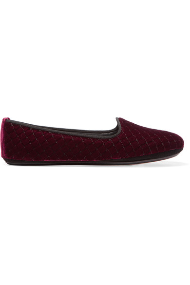 Intrecciato Quilted Velvet Smoking Slipper, Maroon, Red