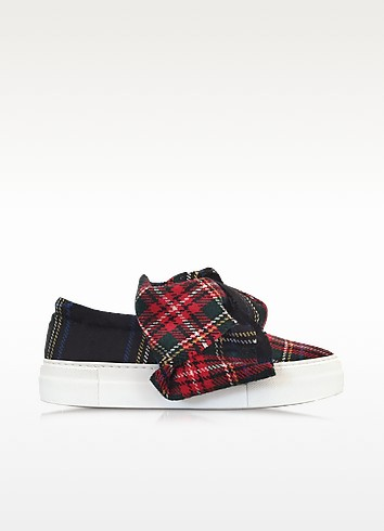 Blue Tartan Bow Wool Blend Slip On Sneaker, Multicolour