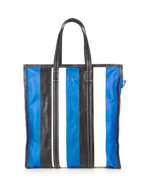 Bazar Medium Striped Leather Shopper Tote Bag, Green/White/Black, Cobalt-Blue