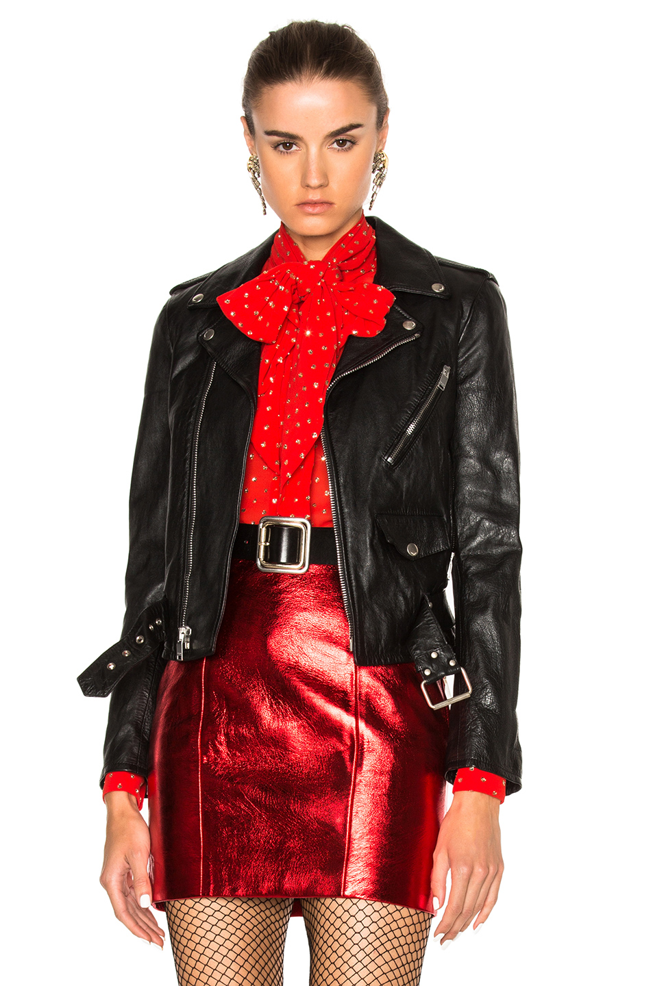 Classic L01 Blood Luster Leather Jacket, Black