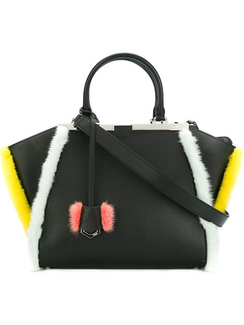 3Jours Small Mink-Fur Trimmed Leather Tote in Black