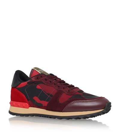 Rockrunner Camouflage Leather Sneakers, Red