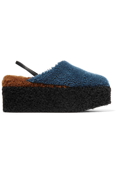 Shearling Platform Slippers, Storm Blue from FENDI