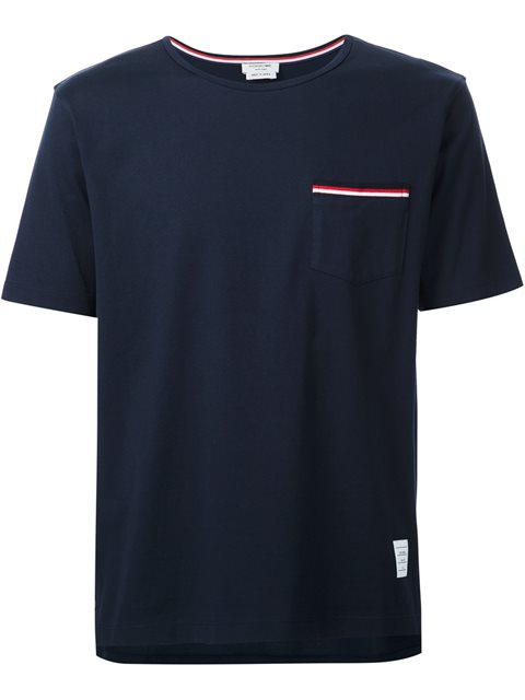 THOM BROWNE Cotton Jersey T-Shirt W/ Striped Details, Blue