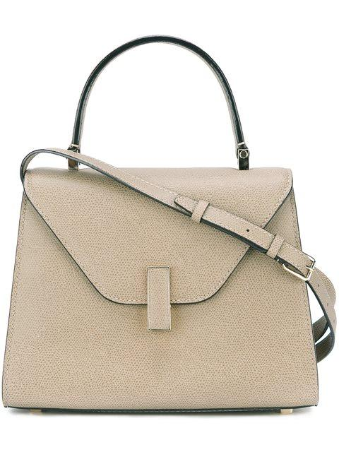 VALEXTRA Iside Medium Leather Top-Handle Bag in Grey