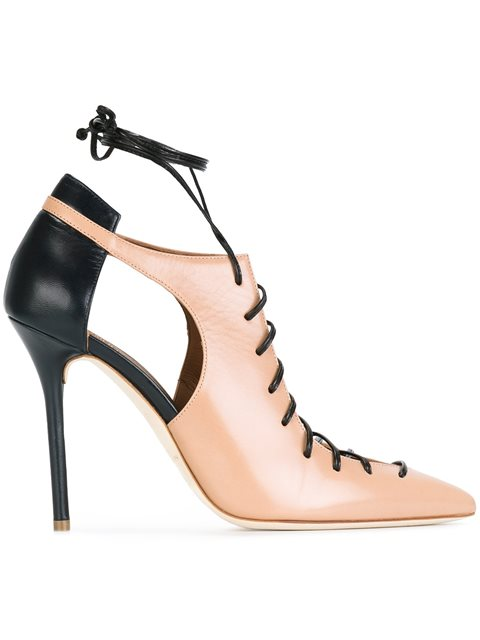 Montana Cutout Two-Tone Leather Pumps in Neutrals