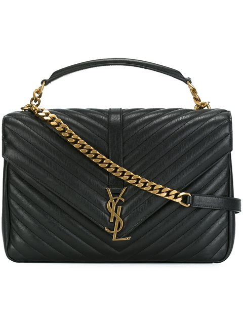 01676a91bbd60e Saint Laurent Pre-Owned: Classic Monogram Satchel Matelasse Chevron Leather  Large In Black