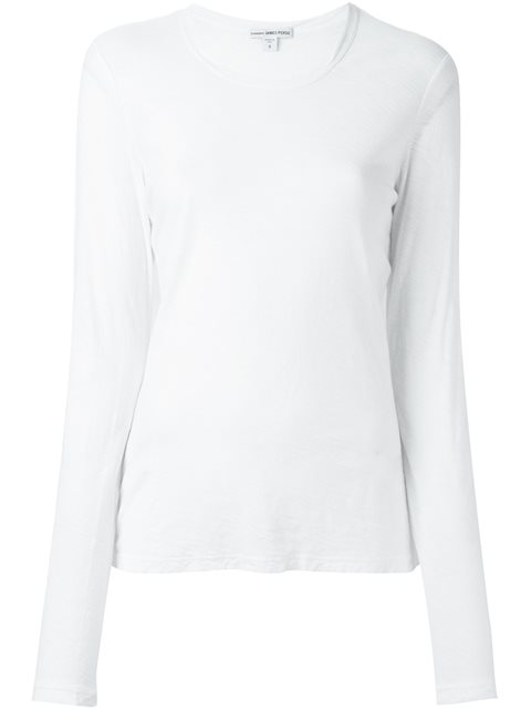 JAMES PERSE Round Neck Longsleeved T-Shirt in White
