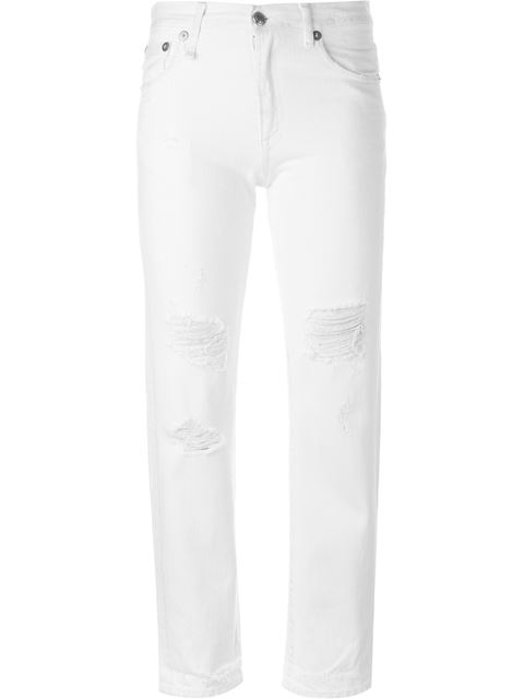 White Shredded Straight Boy Jeans