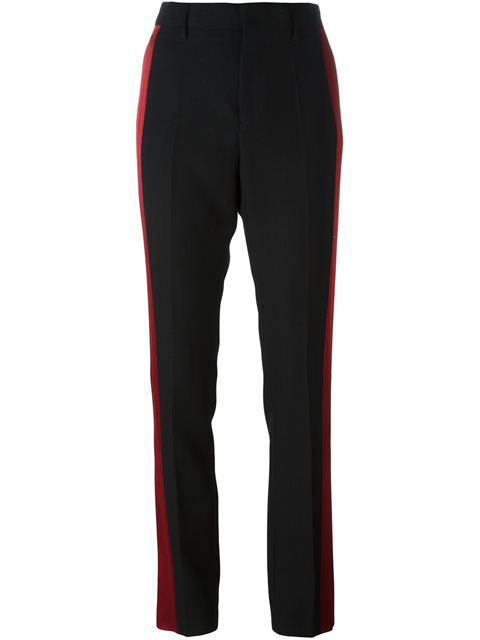 Two-Tone Tailored Trousers in Black