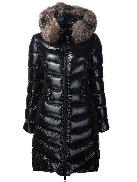 Albizia Quilted Down Coat With Fur-Trimmed Hood in Black