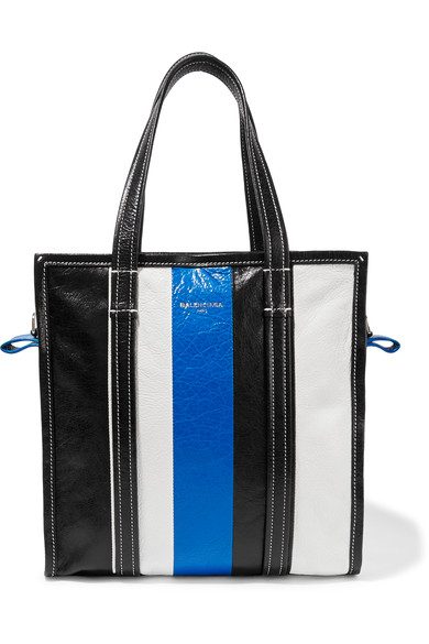 Bazar Small Striped Textured-Leather Tote, Lleu