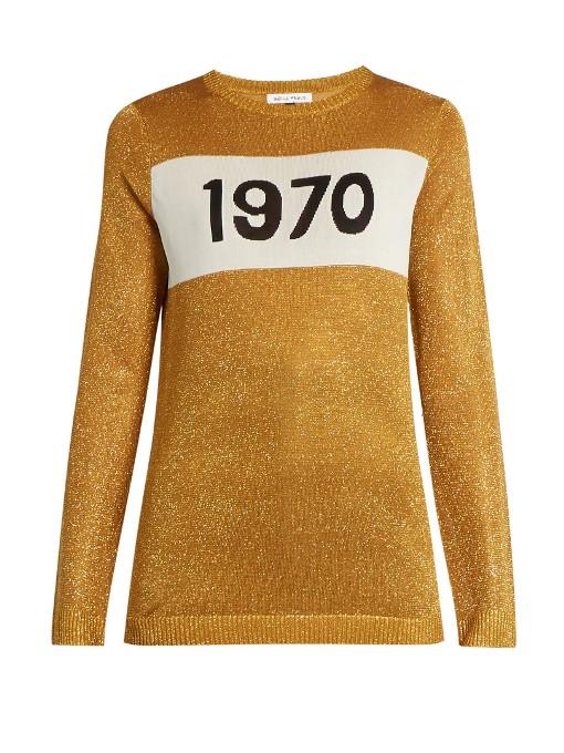 1970 Intarsia-Knit Sweater in Metallic-Gold