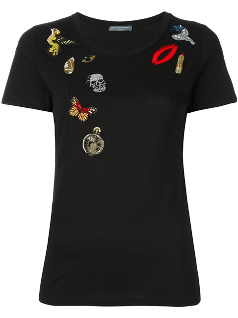 Obsession Embellished T-Shirt in Black